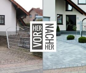 Vorher-Nachher - Gepflasterte Einfahrt
