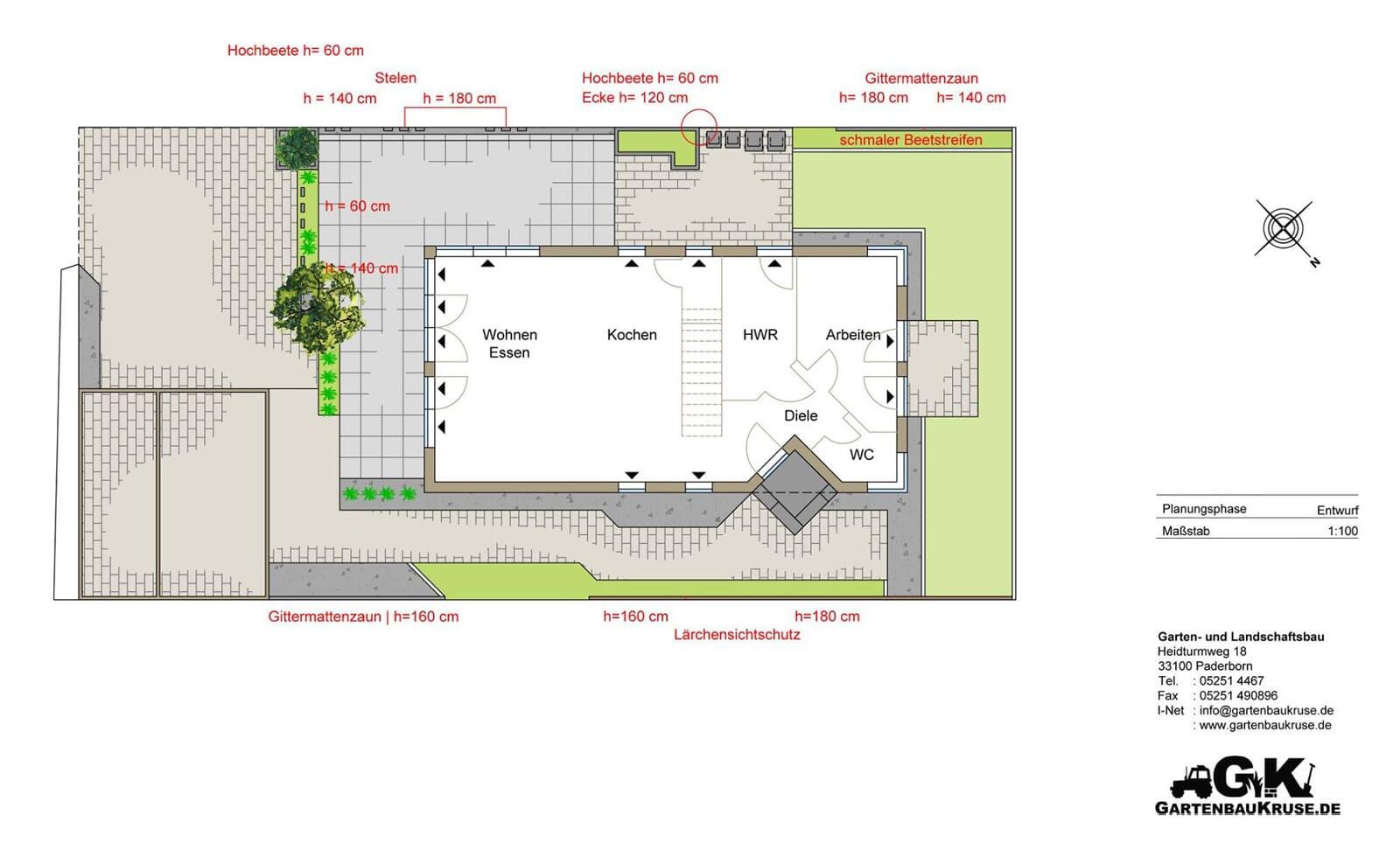 Moderne Terrasse mit Granit-Stelen Planung