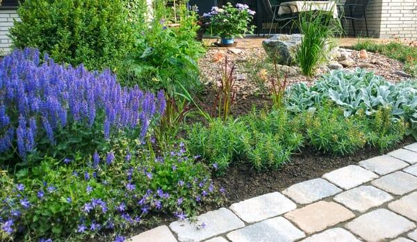Ein Garten mit Blumenbeet